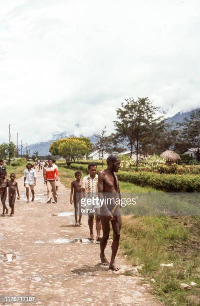 nostalgia. west papua, new guinea, indonesia. dani people. - penile sheath stock photos and pictures