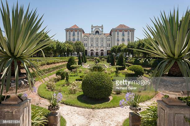 Nostalgic Belle Epoque and Art Nouveau architecture of the Palace Hotel on 17th July 2016 in Cura Portugal The Palace Hotel is one of Portugal's most...