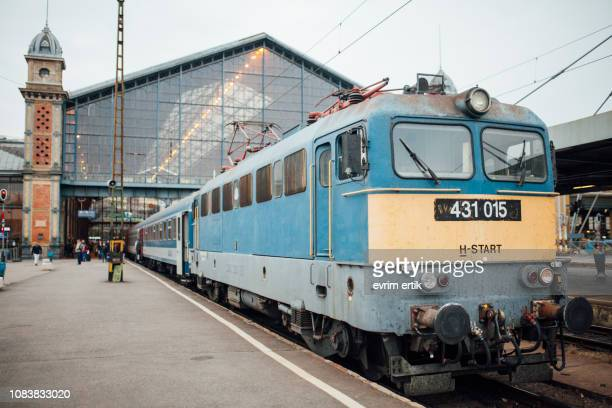 nostalgic train in budapest - hungary vs belgium stock photos and pictures