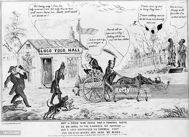 Not a drum was heard nor a funeral note by H Bucholzer and James S Baillie circa 1844 Lithograph print on wove paper Political cartoon illustrating...