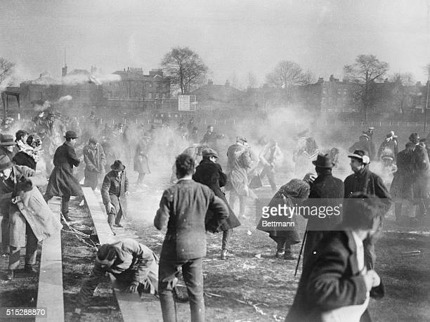 Not a street riot in Dublin Merely a flour battle between rival cohorts of the football teams of University College and East London College following...