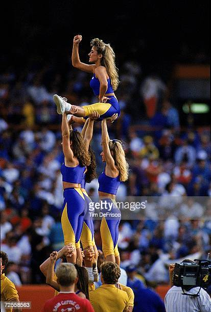 Rams Cheerleaders make a pyramid during the game against the New Orleans Saints The Saints defeated the Rams 1410 Mandatory Credit Tim DeFrisco...