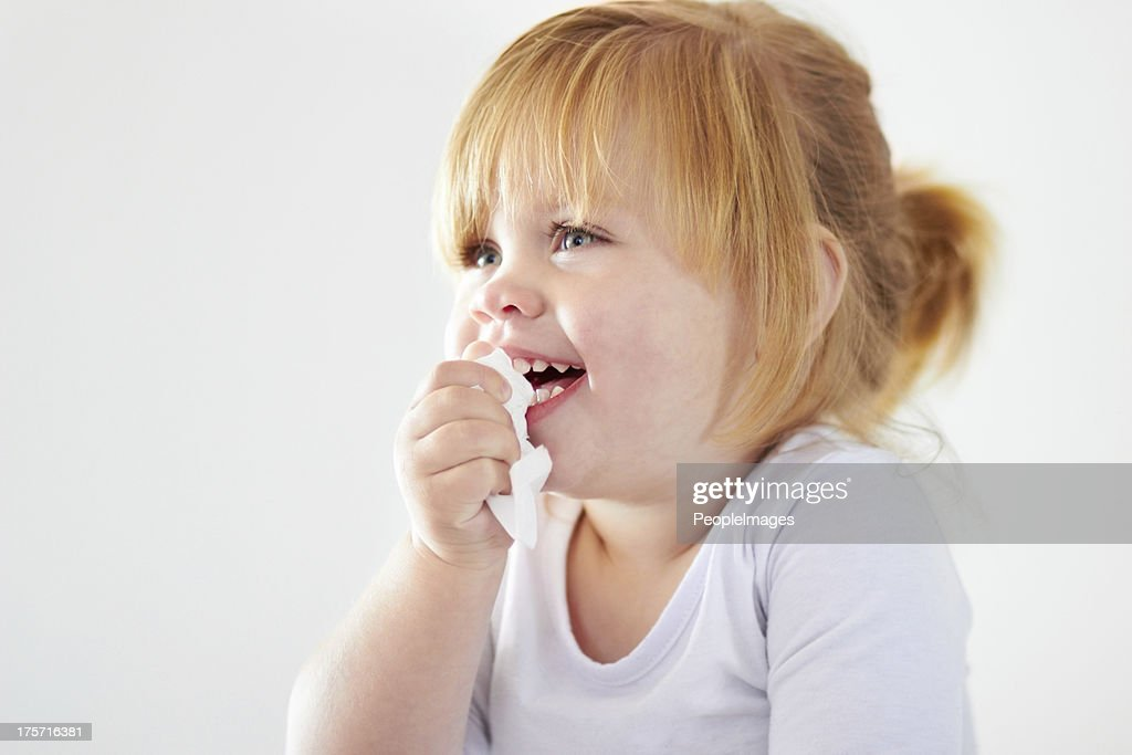 Not even a runny nose can dampen the giggles! : Stock Photo