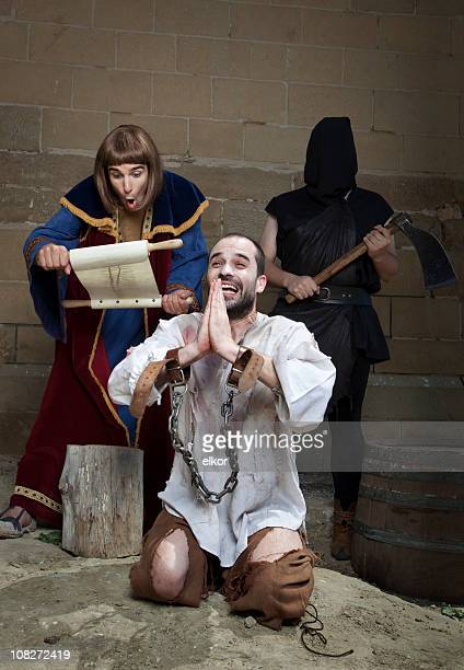 not guilty: wrongfully convicted is freed before the execution. - punishment of slaves stock photos and pictures