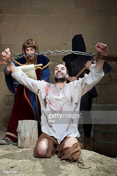 not guilty: wrongfully convicted is freed before the execution. - torture stock pictures, royalty-free photos & images