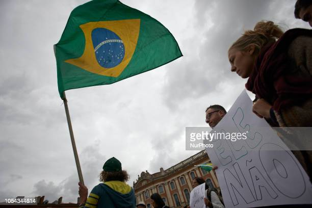 'Not him' in a reference to Bolsonaro Part of the Brazilian community of Toulouse gathered in front of the cityhall of Toulouse They wanted to raise...