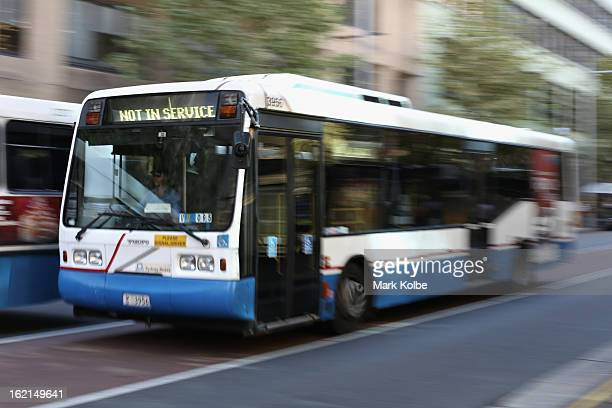 A not in service bus drives along York street in the CBD on February 19 2013 in Sydney Australia State Transit will be cutting buses on dead routes...