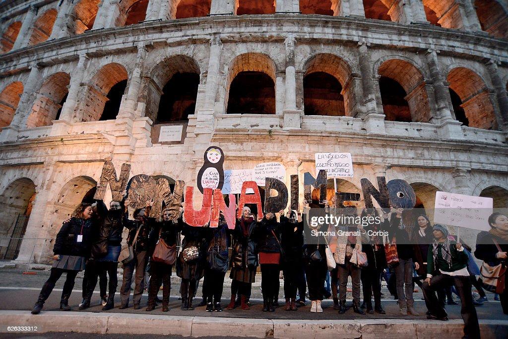Not one less, feminist demonstration in Rome. : News Photo