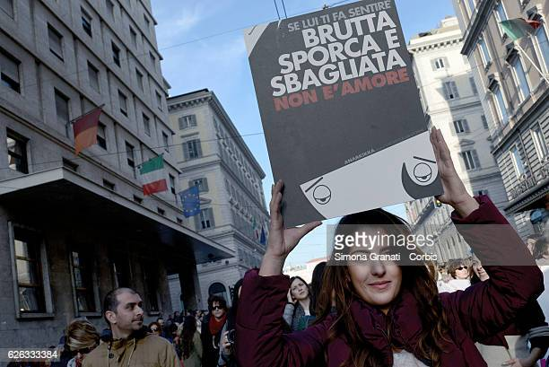 Not one less national demonstration against male violence against womenon November 26 2016 in Rome Italy
