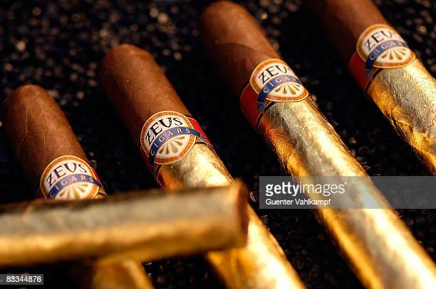 Not only for smokers ZEUScigars for 500 EUro each and VENUScigarillos folded in beaten gold by the cigar company at the Millionaire Fair on October...