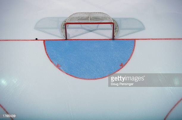 Ice hockey goal elevated view