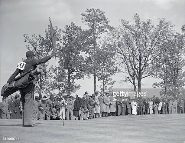 Not the Bobby the Great of 1930 Augusta Georgia Bobby Jones shown putting on the first green during the second round of the Masters golf tourney here...