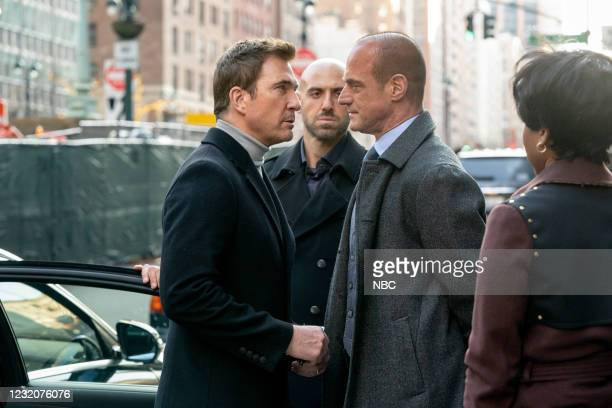 """Not Your Father's Organized Crime"""" Episode 102 -- Pictured: Dylan McDermott as Richard Wheatley, Ibrahim Renno as Izak Bekher, Christopher Meloni as..."""