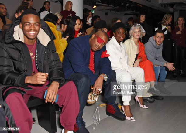 Not3s Slick Rick Clara Amfo AnneMarie and Charlie Colkett attend the Bobby Abley show during London Fashion Week Men's January 2018 at BFC Show Space...