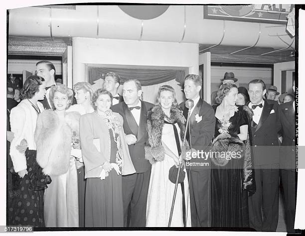 Notables attending the world premier in South Bend Indiana of the film Knute RockneAll American are shown here Left to right are Gail Patrick...