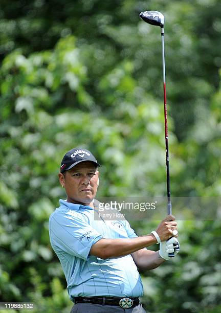 Notah Begay hits a tee shot on the 11th hole during round two of the RBC Canadian Open at the Shaughnessy Golf Country Club on July 22 2011 in...