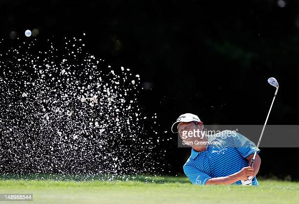 Notah Begay III plays a shot on the 7th hole during the second round of the True South Classic at Annandale Golf Club on July 20 2012 in Madison...