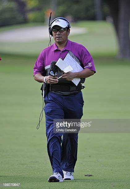 Notah Begay III works as an oncourse commentator during the first round of the Sony Open in Hawaii at Waialae Country Club on January 10 2013 in...