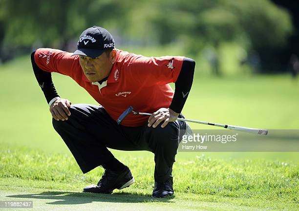 Notah Begay llines up his putt on the sixt hole during round one of the RBC Canadian Open at the Shaughnessy Golf Country Club on July 21 2011 in...