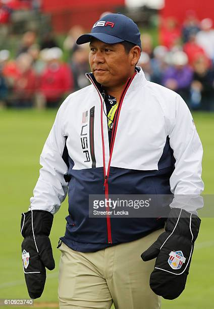 Notah Begay looks on during practice prior to the 2016 Ryder Cup at Hazeltine National Golf Club on September 28 2016 in Chaska Minnesota