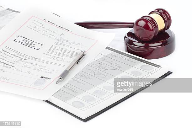 notary documents and gavel