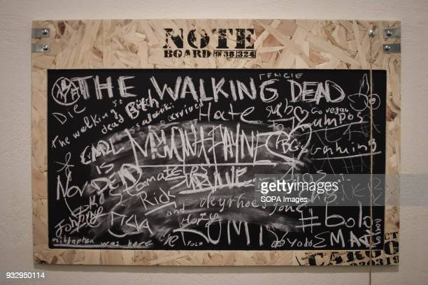A note board seen at the exhibition 54 artists are inspired by The Walking Dead and they present their own perspective in the postapocalyptic and...