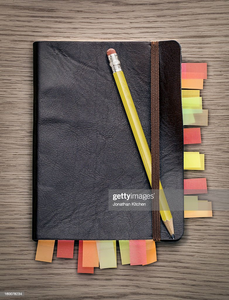 Note book from above : Stock Photo