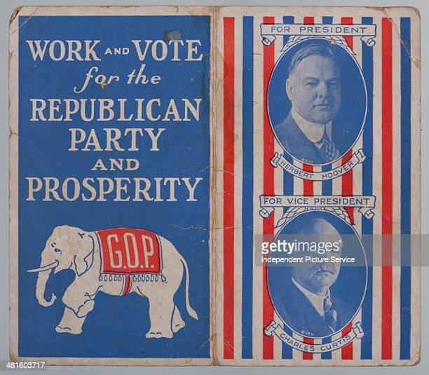 GOP note card with a list of republican endorsements for the state of Pennsylvania President Herbert Hoover Vicepresident Charles Curtis