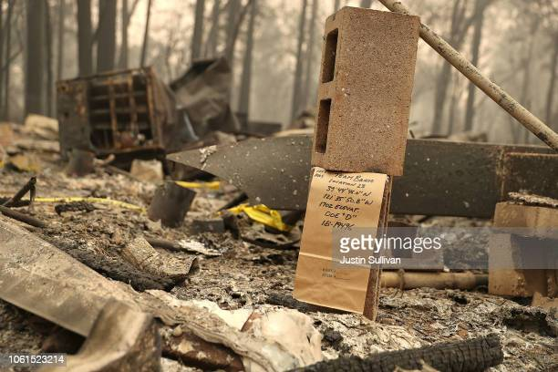 A note is visible where rescuers found a deceased fire victim at a mobile home park that was destroyed by the Camp Fire on November 14 2018 in...