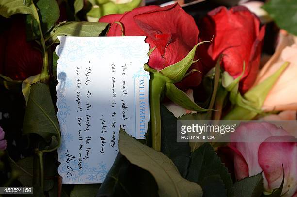 A note left at a makeshift memorial to actor/comedian Robin Williams at his star on the Hollywood Walk of Fame August 12 in Hollywood California...