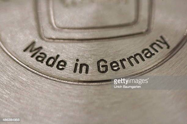 Note MADE IN GERMANY on a frying pan on April 17 2014 in Bonn Germany