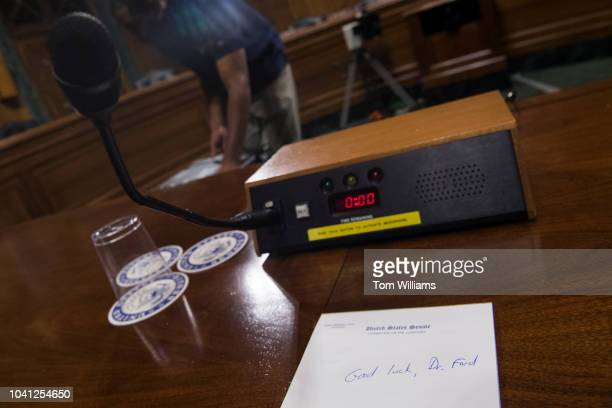 A note of encouragement for Dr Christine Blasey Ford appears on a pad in the Senate Judiciary Committee hearing room on September 26 in Dirksen...