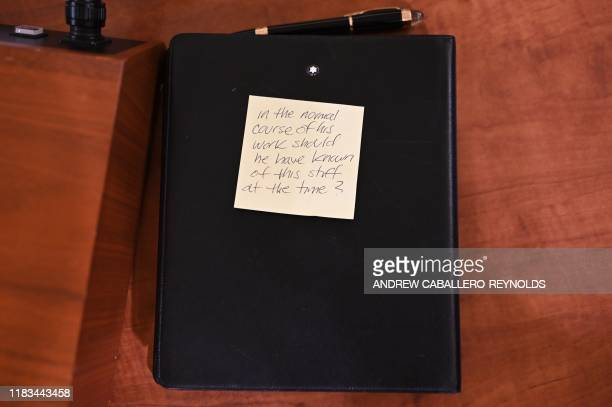 A note on a folder on a table is viewed as Special Advisor for Europe and Russia in the office of US Vice President Mike Pence Jennifer Williams and...