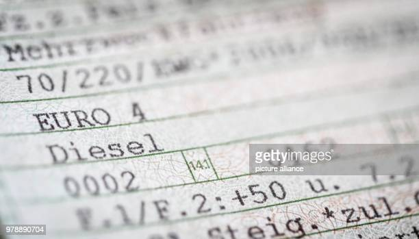 A note on the Euro 4 norm and Diesel seen on a vehicle registration in Berlin Germany 28 February 2018 Photo Kay Nietfeld/dpa