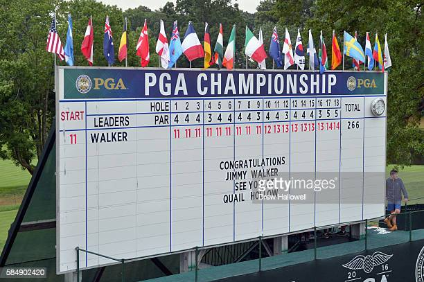 A note on the leaderboard congratulates Jimmy Walker of the United States on winning the 2016 PGA Championship at Baltusrol Golf Club on July 31 2016...