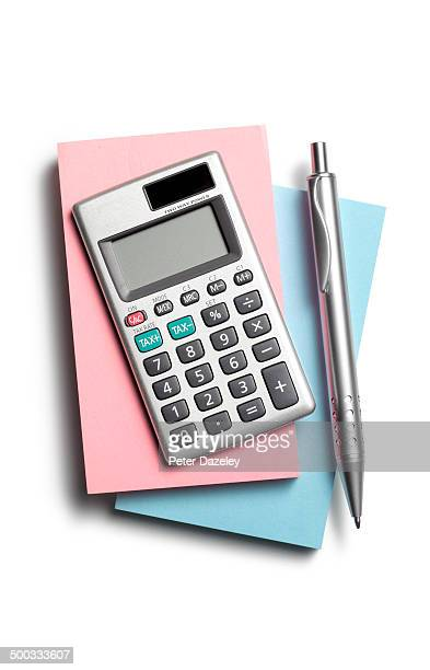 Note pad, calculator and pen