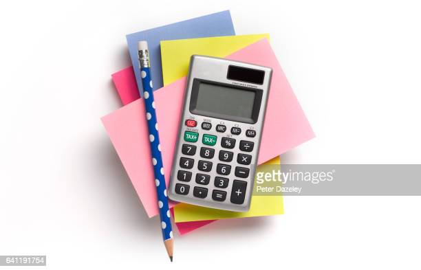 note pad, calculator and pencil - office supply stock pictures, royalty-free photos & images