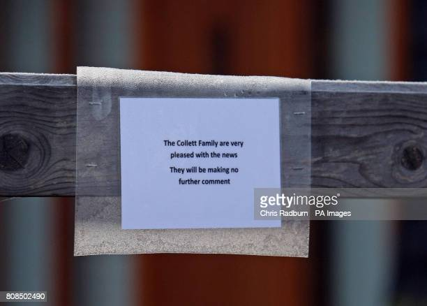 A note pinned to the gate at the home of Stephen Collett brother of released hostage Rachel Chandler in Bury St Edmunds