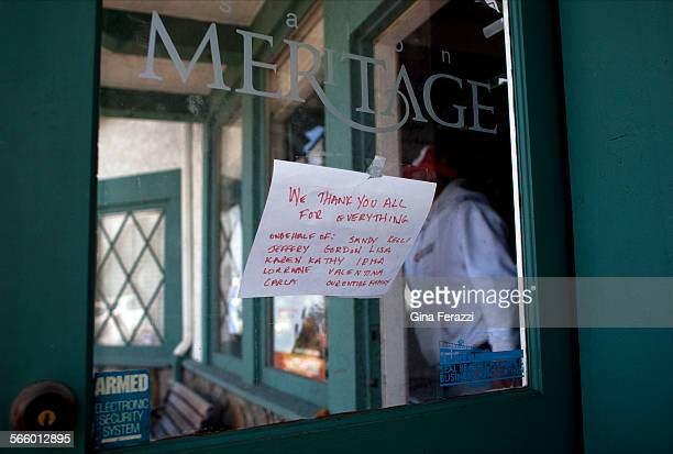 A note thanking the Seal Beach community for support is taped to the door of Salon Meritage 5 months after a gunman killed 8 people It was the...