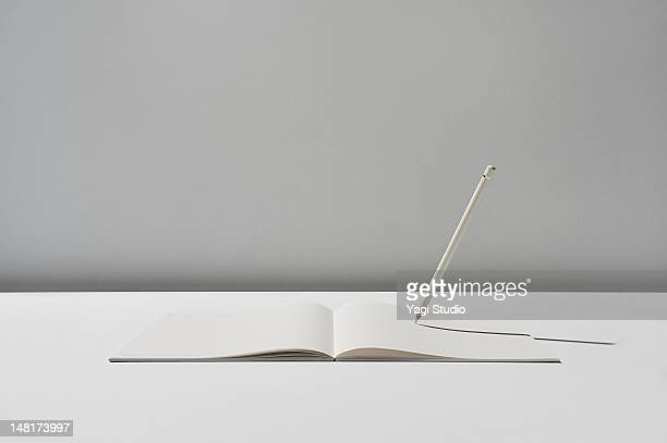 Notebook and pencil on white background