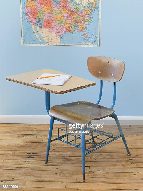Notebook, school desk, and map
