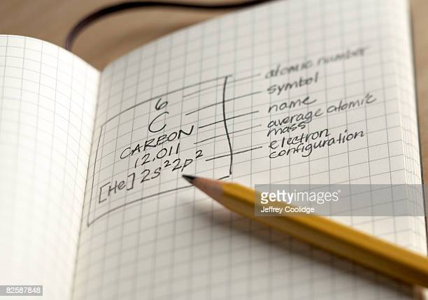 notebook with carbon symbol - periodic table stock photos and pictures