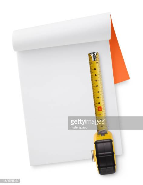 Notebook with tape measure