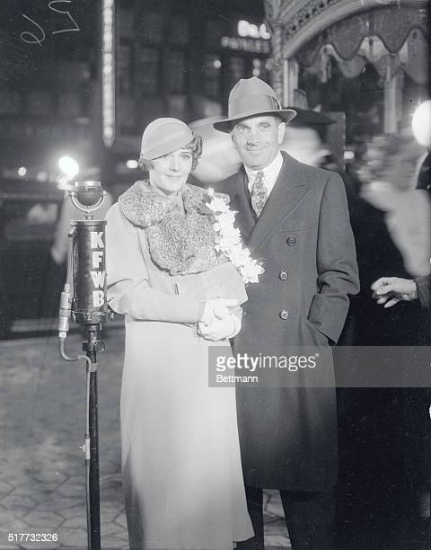 Noted Comedian and Wife Arrive for Hollywood Premiere Los Angeles Calif Al Jolson noted star of stage and screen and his wife Ruby Keeler arriving at...