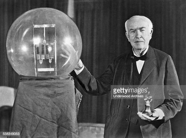 Noted inventor Thomas Edison at the lightbulb's golden jubilee anniversary banquet in his honor Orange New Jersey October 16 1929 He is exhibiting in...