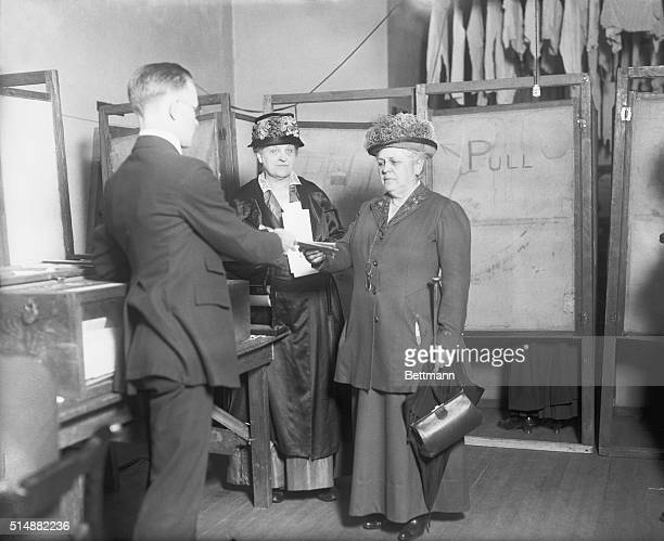 Noted suffrage leaders cast their votes for president Left to right Mrs Carrie Chapman Catt and Miss Mary Garrett Hay identified with the suffrage...