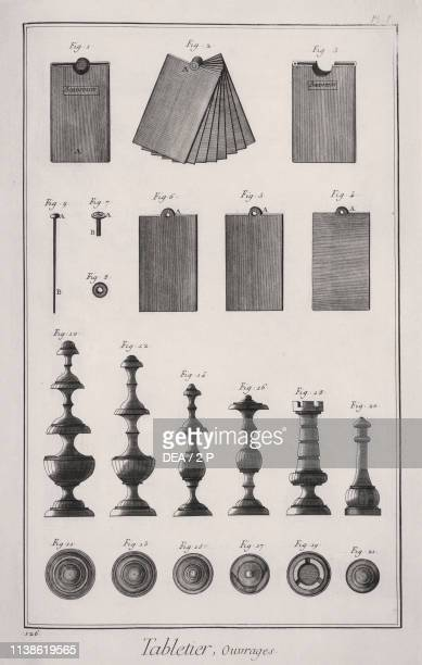 Notepad and chess pieces engraving from L'Encyclopedie by Denis Diderot and JeanBaptiste Le Rond d'Alembert 17511772