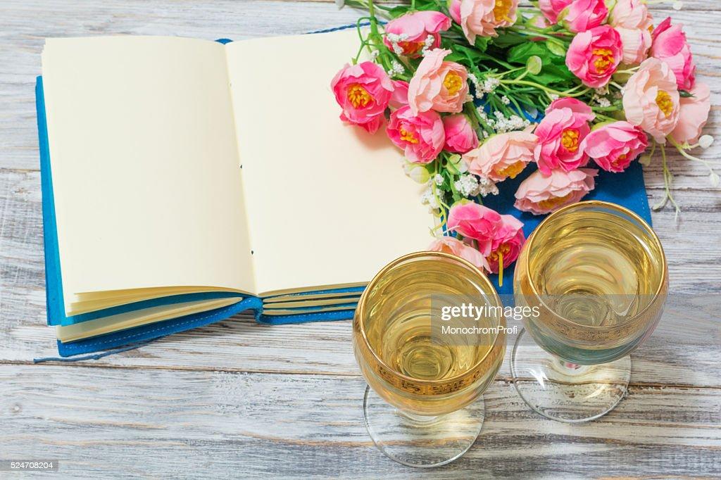Notepad white wine and flowers stock photo getty images notepad white wine and flowers stock photo mightylinksfo