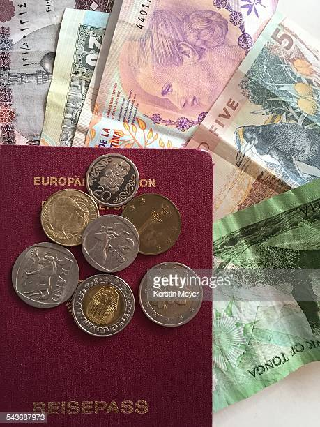 Notes and coins from different countries