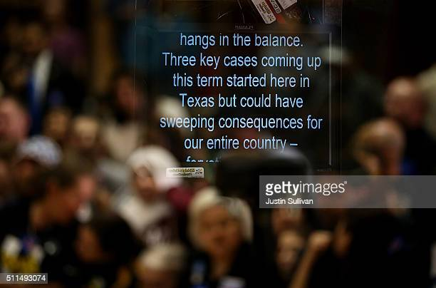 Notes appear on a teleprompter after Democratic presidential candidate, former Secretary of State Hillary Clinton spoke at a campaign rally at Texas...